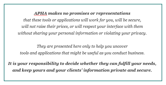 APHA disclaimer statement
